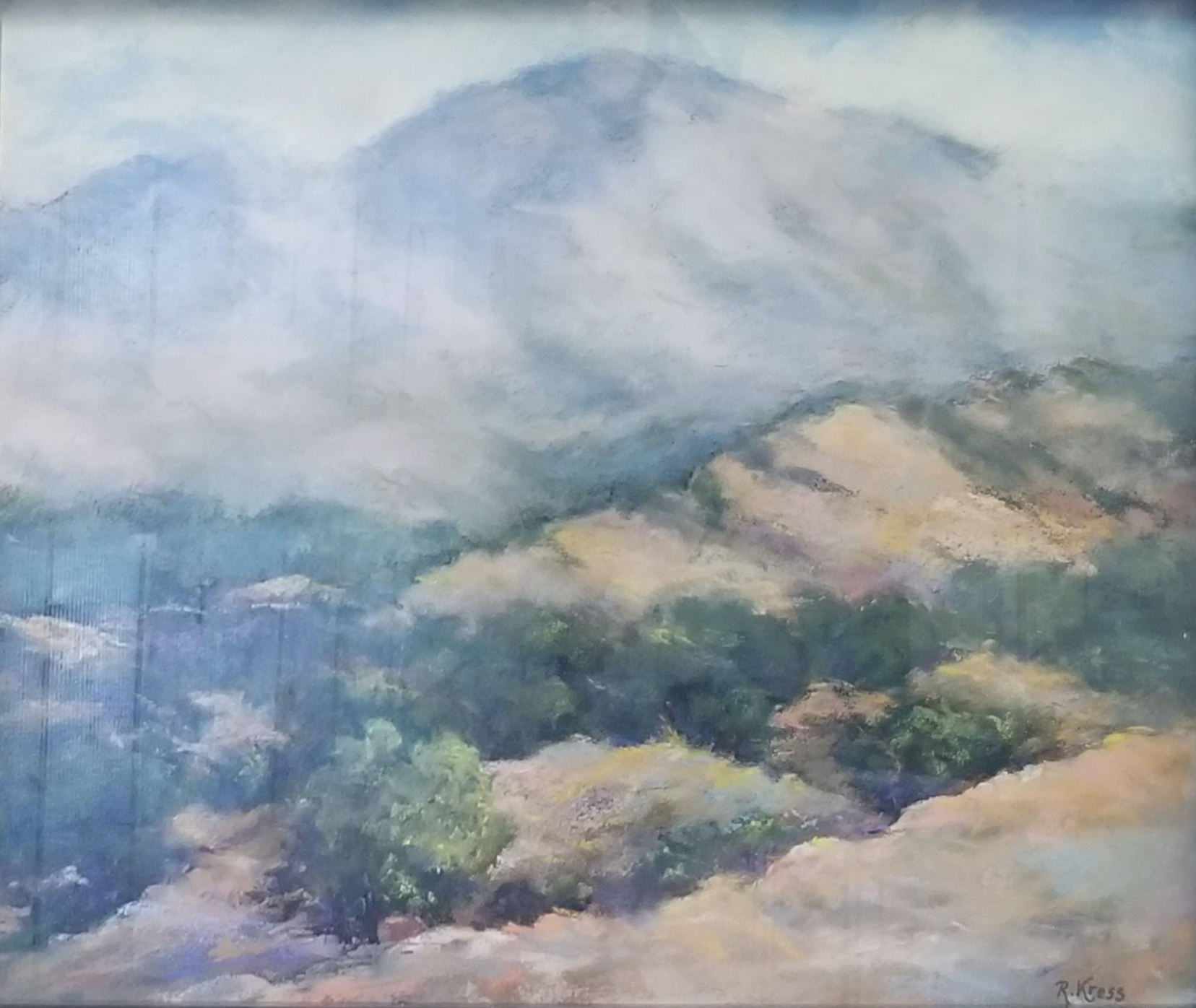 Morning Clouds over Mt. Diablo, Roswitha Kress, 16.5 x 19.5, pastel on board, $350