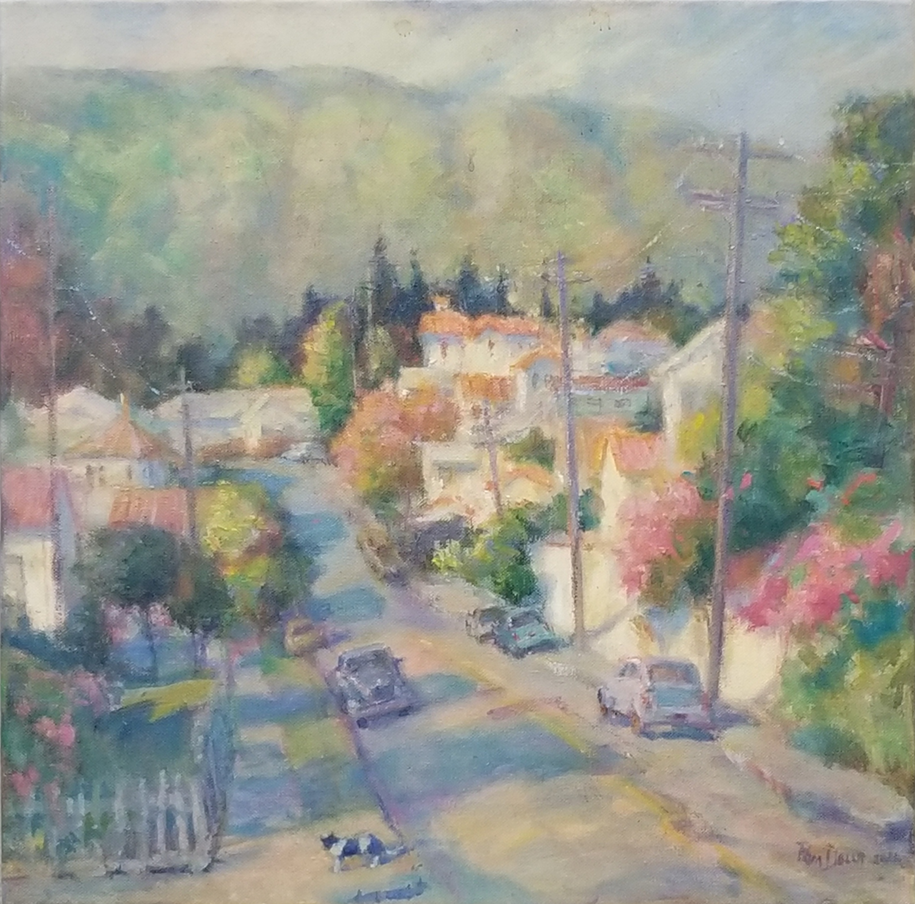 Near Main Street, Martinez:Pam Della, 18 x 18, oil on canvas, $700
