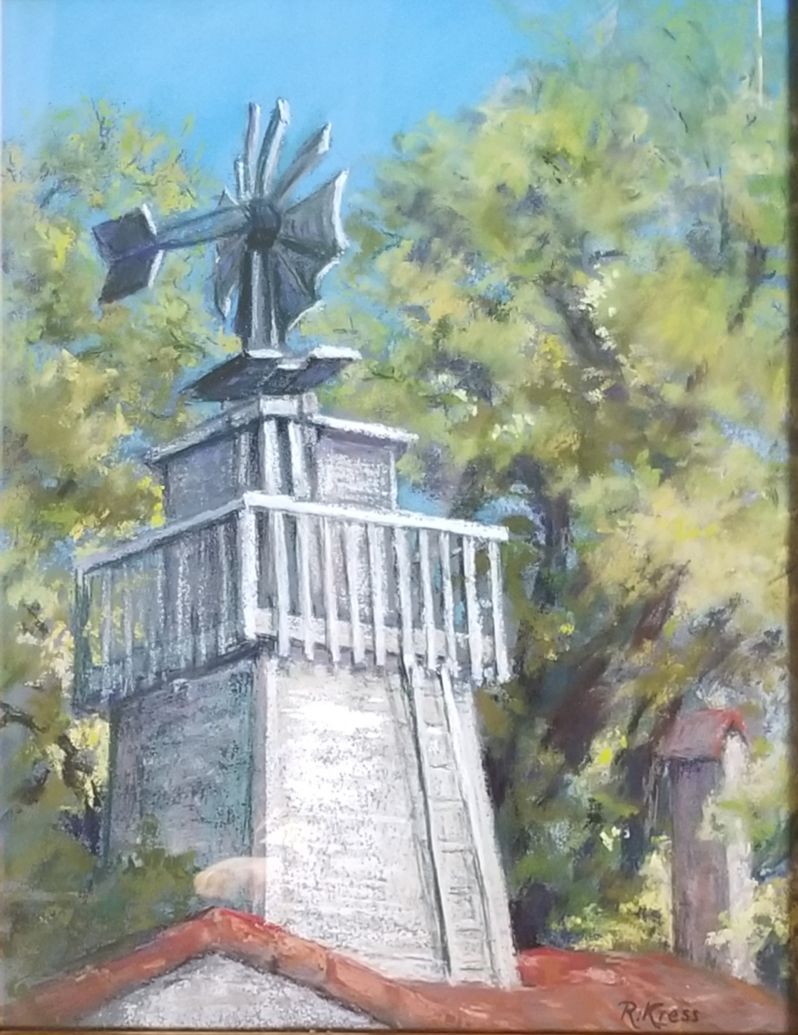 Old Windmill, Roswitha Kress, 19.5 x 16.5, pastel on board, $350