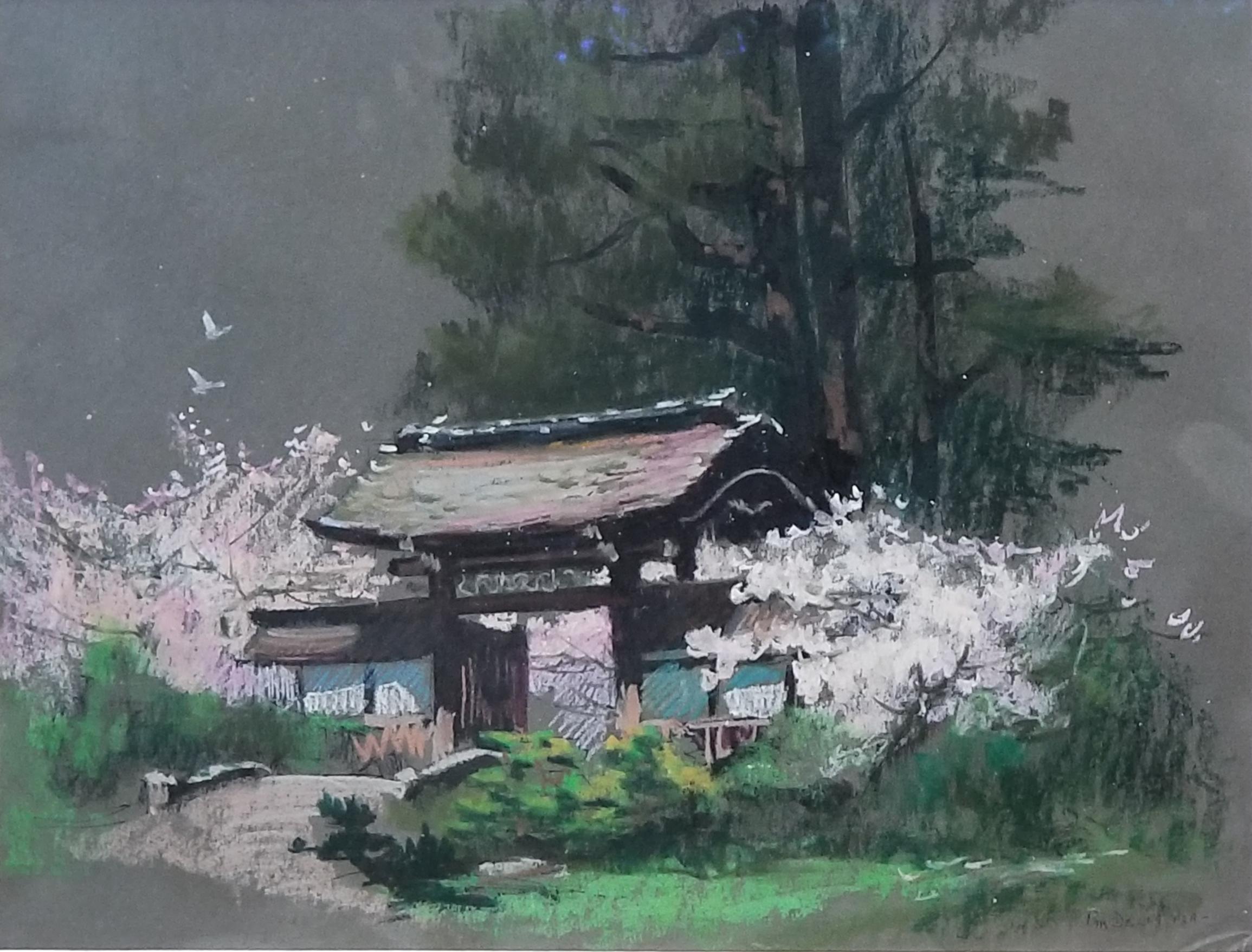 Tea Garden Gate:Pam Della,12 x 16, oil pastel on paper, $500