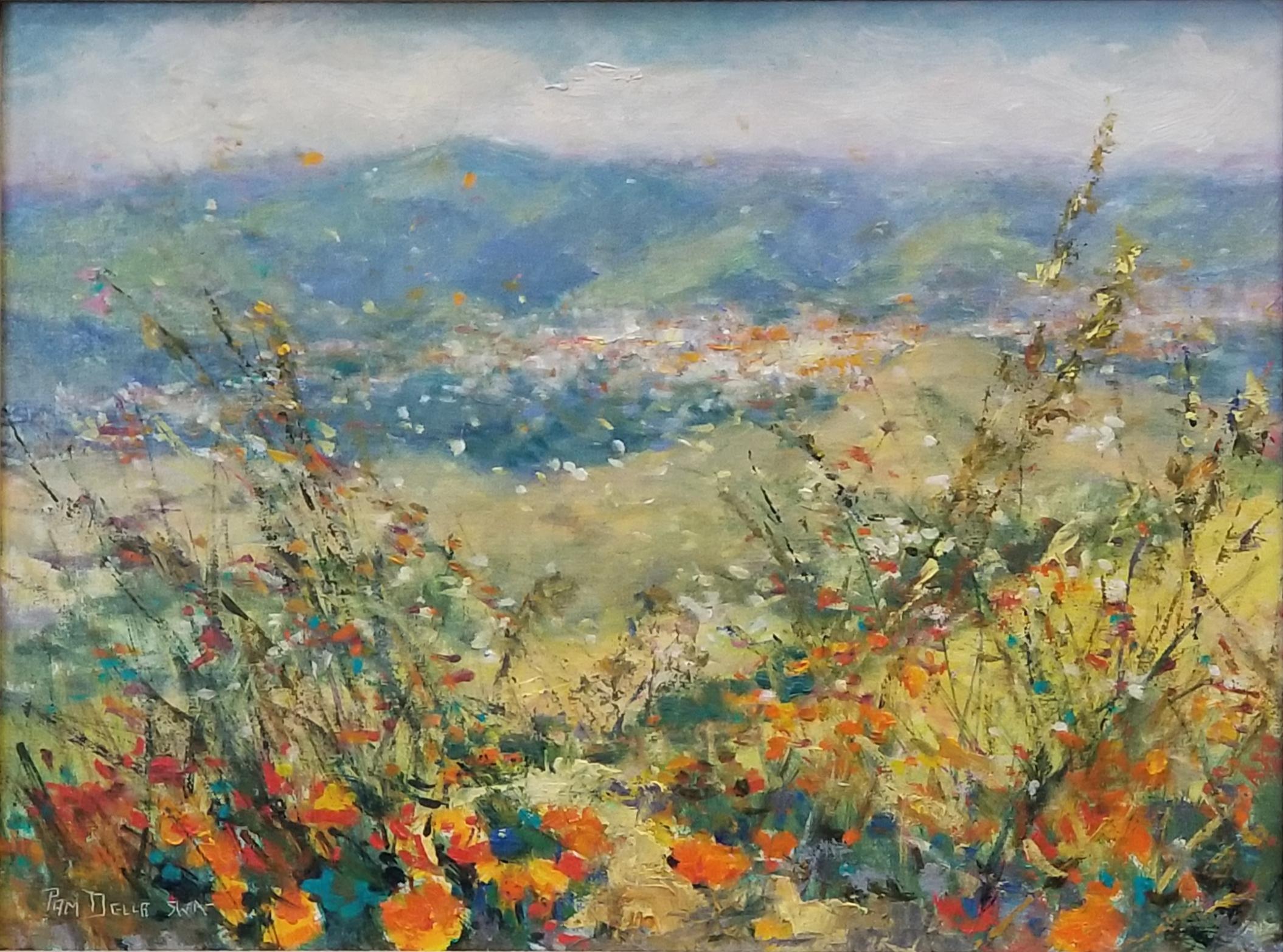 Walnut Creek View from Mt. Diablo:Pam Della, 12 x 16, oil on canvas, $800